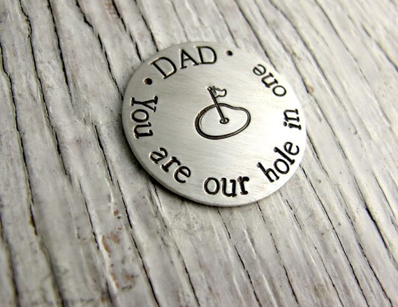 Personalized Golf Ball Marker, Father's Day Gift, Grandpa Key Chain Leather, Sterling Silver, Hand Stamped