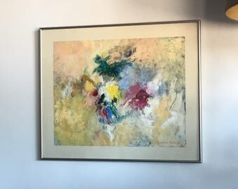 Jeanne Sellergren Abstract Painting Framed Vintage Art