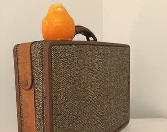 HARTMANN TWEED BRIEFCASE, Mid Century Modern, Briefcase, Hartmann Luggage, Hartmann Overnight Bag, Belt Leather, Hartmann at Modern Logic