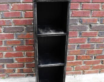 Distressed wood Bookcase Storage shelf Handmade  35 inches tall x 13 inches wide x 11 1/2 inches deep