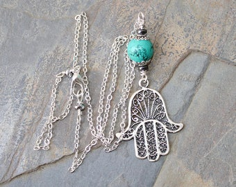 Hamsa Necklace, Magnesite Necklace, Turquoise Necklace, Natural Stone Necklace, Boho Necklace, Handmade Necklace, Bohemian Necklace