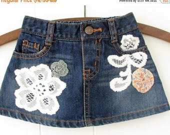 MOVING SALE Tiny Mini Skirt,Altered Upcycled Sustainable Toddler Denim Skirt,Lace Applique ,Vintage Sack Cloth Yoyo,Wild Hollyberry, Hollywo