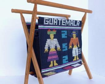 Guatemala Standing Sewing Knitting Folding Basket Tote Bag Stand for Craft Project Supplies Storage