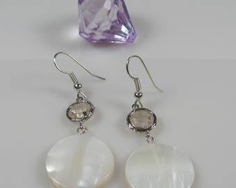 Round white dangle earrings, surgical steel earrings, mother of pearl shell nickel free earrings, bridesmaids earrings, gift under 15