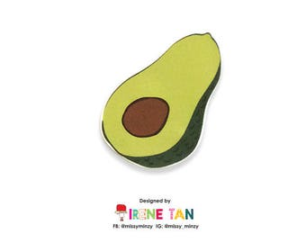 Avocado - Handmade Shrink Plastic Brooches - One of a kind - Wearable Art - Made to Order