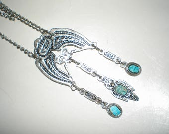 Turquoise Articulated Egyptian Style Carved Turquoise Scarab Pendant Silver-Tone Gemstone Middle Eastern Inspired
