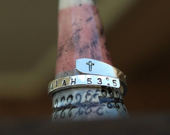 Personalized Custom Scripture Ring, Sterling Silver Bible Verse Ring, Sterling Silver Wrap Ring, Christian Ring, Christian Jewelry, Religous