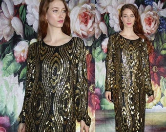 Vintage 1980s Avant Garde Sequin Black and Gold Cocktail Party Art Deco Flapper Dress - 80s Clothing - WV0560