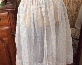 Vintage 1950s 1960s Skirt SHEER fabric With Light Blue Flocked Flowers Buttons On The Left Side