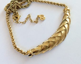 Vintage DIOR Braided Gold Bar Necklace - 1980's