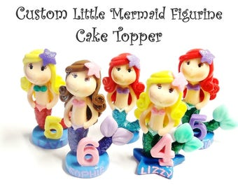 Custom Little Mermaid Cake Topper, Personalized Cold Porcelain Clay Mermaid Figurine, Under the Sea Mermaid Birthday, Keepsake, Decor, Gift