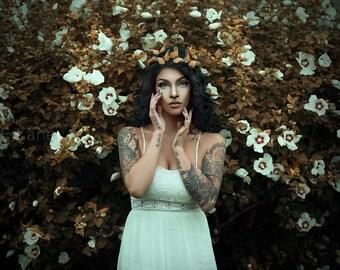 Bohemian Orange Monarch Butterfly Crown - halloween, wedding, offbeat bride, fantasy, woodland
