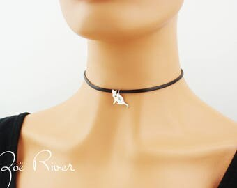 Choose silver or gold personalized cat initial choker. Cat necklace. Dainty cat choker. Cat initial choker necklace. Cat choker necklace
