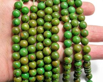Green Wood Jasper - 8 mm round beads -1 full strand - 48 beads - Green Serpeggiante - RFG1550