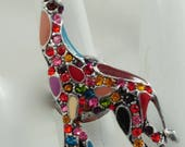Multicolor Giraffe Ring/Rhinestone/Silver/Colorful/Gift For Her/Zoo Animal Jewelry/Adjustable/Under 20 USD