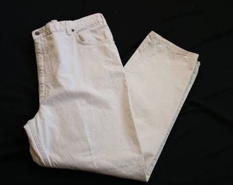 Plus Size Jeans | 44 high waist vintage 80s 90s womens ultra high waisted cream beige xxl 2x 3x denim khaki off white preppy hipster