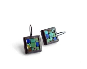 Mosaic Earrings - Lapis Lazuli Turquoise Silver Earrings - Square Earrings - Mosaic Jewelry - Lapis Lazuli Earrings - Ready To Ship