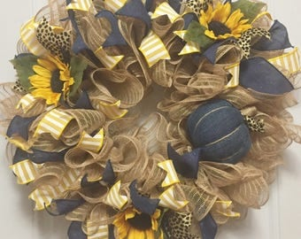 Every Day Door Wreath, Rustic Home Decor, Fall Mesh Wreath, Housewarming Gift, Country Welcome, Pumpkin Harvest Decoration, Sunflower Decor