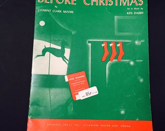 Vintage Sheet Music 'Twas The Night Before Christmas Clement C. Moore Christmas Story