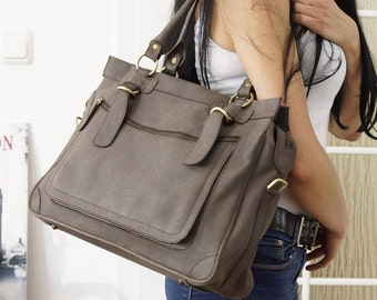 DarkGrey Leather handbag, Leather tote, Leather Tote Bag,Leather Tote Bag, Laptop Case, Cross-body bag, Travel Bag,  Weekender, Rina XXL