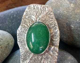 Reticulated Sterling Silver ring with aventurine gemstone