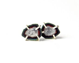 """Teardrop Geode Post Earrings, Tabasco Geode Stud Earrings in Sterling, """"Verdant"""" Tabasco Geode Earrings"""
