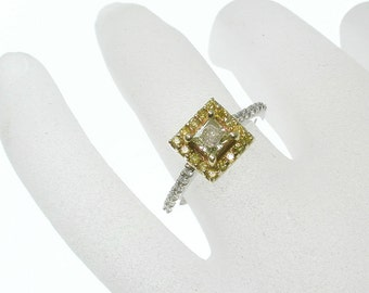 SALE Yellow Diamond Engagement Ring, Popular Item, Princess Cut Engagement Ring, Square Halo Diamond Halo Engagement Ring, Thin Diamond Ring