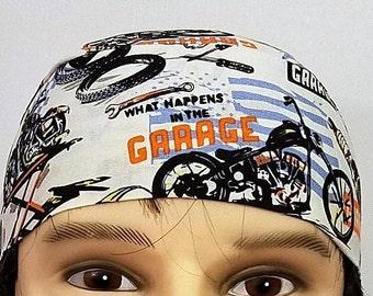 What Happens in the Garage- Stays in the Garage Skull Cap, Chemo Cap, Surgical Cap. Hats, Handmade, Do Rag, Motorcycle, Helmet Liner, Head