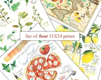 Any four 11X14 posters, Set of 4 prints, Kitchen print set, Watercolor painting, Home decor, Watercolor prints, 11X14 print, Kitchen decor