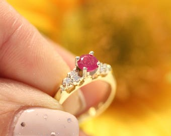 OOAK vintage Ruby engagement ring 14k gold ONLY ONE,  18K gold ring