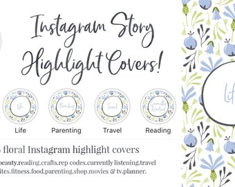 Instagram Story Highlight Cover - Set of 16 - Floral- Blue - Bookstagram - Food Bloggers - Lifestyle Bloggers