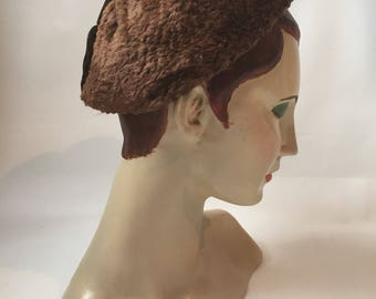 1940s faux fur and brown velvet vintage winter halo hat
