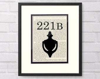SHERLOCK Holmes 221B Baker Street over Vintage Sherlock Holmes Book Page - Sherlock Holmes Gift Graduation Gift