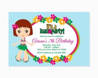 Luau Birthday Party Invitation, Luau Invitation, Hula Girl, Hawaiian, Red Hair, Personalized, Printable or Printed