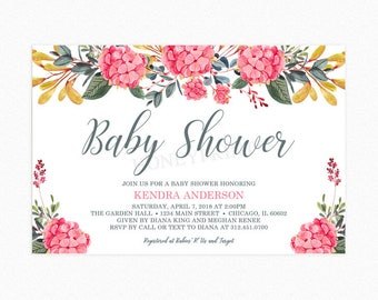 Hydrangea Flower Baby Shower Invitation, Botanical Baby Shower Invitation, Floral, Watercolor,
