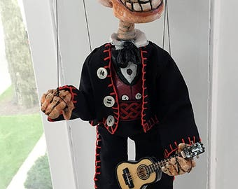 Small Day of the Dead Guitarist Skeleton Marionette (Made to Order)