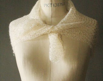 Vintage 40's/50's Handmade Cream Mohair Knit Shawl