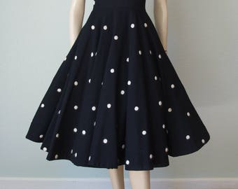 1950s New Look Dress / Black Wool with White Embroidered Dots / 50s Wool Dress / Circle Skirt Dress / Full Sweep / Small