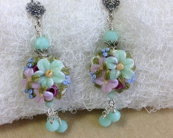 Mint Green and Lilac Flower Lampwork Bead, Swarovski Crystal, Bali Sterling Silver Earrings   ES548