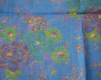 1/4 YARD, Blue Green Gold Floral Print, Quilting Cotton or Craft Fabric, Flowers Leaves, Roses Daisies, 40 x 11, B44