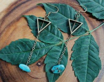 Turquoise Earring - Water Spirit - Bronze Dangle Earring