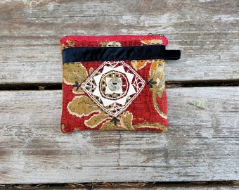 Handmade Zipper Pouch, Velvet Tapestry Upholstery Fabric, Vintage Lace Applique, Button, Embroidery, Velvet Trim, Lined