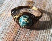 Blue Imperial Jasper stone Ring - antique brass wire wrapped , size 11 1 /4 , turquoise gemstone , rustic hippie natural metaphysical