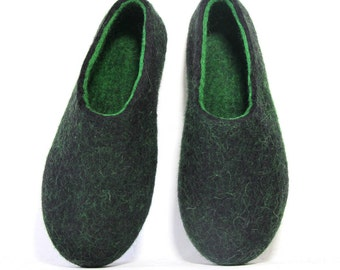 Wool Shoes For Men House Slippers Gift for Husband, Boiled Wool Shoes, Natural Felted Women Felt Slippers, Wool Slippers With Rubber Soles