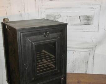 Antique Toleware Warming Oven Pie Safe - bread bun warmer