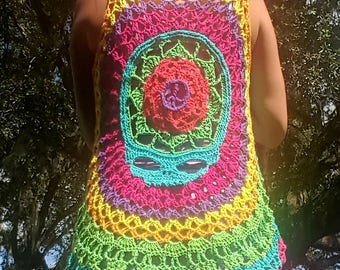 Hippie Peace Sign Skull Mandala Vest with Front Tie Option