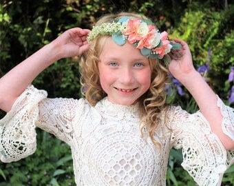 Ivory flower headband, ivory rose headband, peach flower crown,halo headband,flower girl headband,bridal headband,ready to ship,
