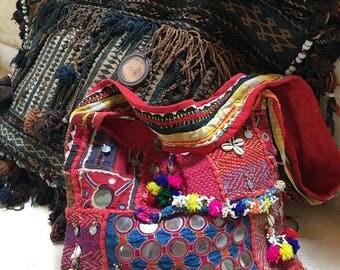Jaipur rare Authentic Handmade Vintage Red Banjara Bag,Ethnic Embroidered Fabric Bag,Tribal Bohemian Multi color embellished bag Model JB#2