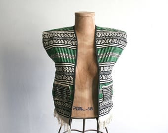 Handwoven Mexican Green Striped Vest