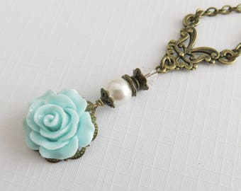 Blue flower necklace, bridesmaid necklaces, Swarovski pearl necklace, rustic wedding jewelry, bridal jewelry